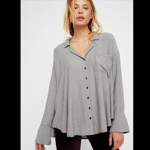 Free People Magic Breeze Pinstripe Button Shirt